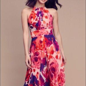 Floor length, floral gown, delicate back tie